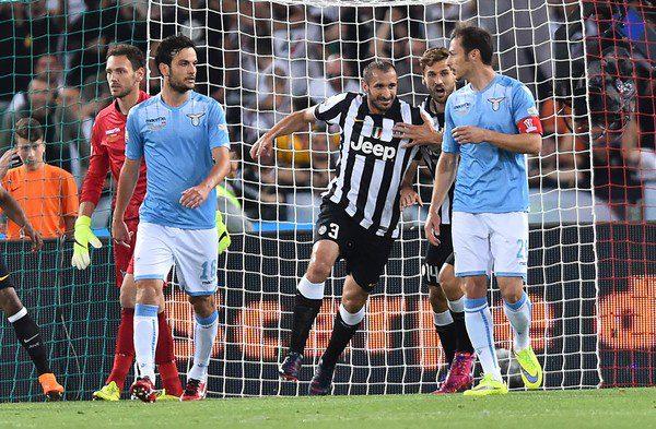 """Foto Andrea POMPONI 20/05/15 Roma (Italia) Sport Calcio Football  Tim Cup Finale 2014 2015 - Stadio """"Olimpico Roma"""" Juventus vs Lazio  Nella foto:goal chiellini"""